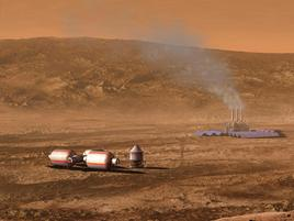 Factory with smoke coming out of its chimneys and space objects on an arid orange landscape with orange hills in the background