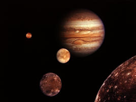 Montage of Jupiter and the Galilean satellites, Io, Europa, Ganymede, and Callisto, all photographed by Voyager 1
