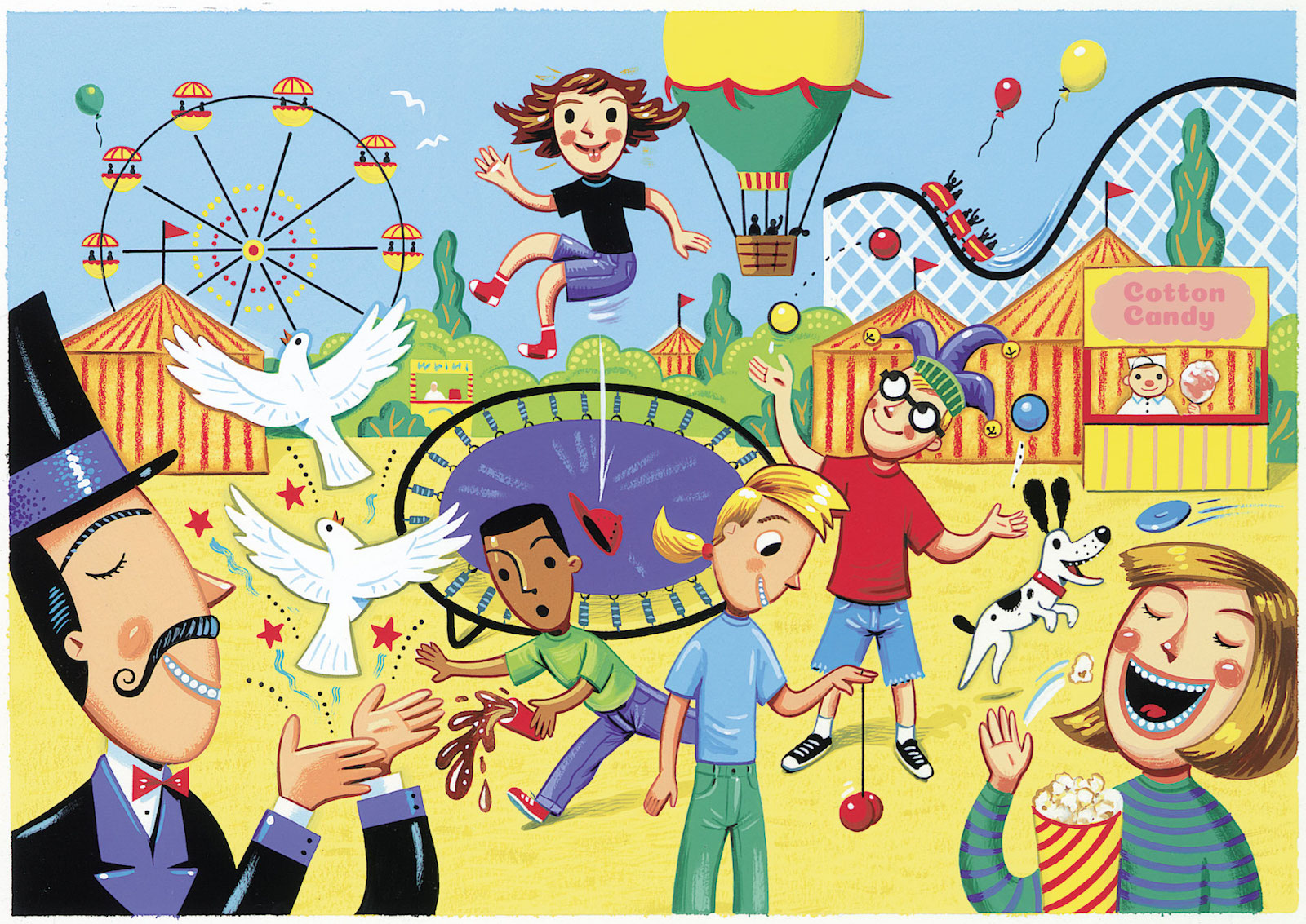 circus illustration with a rollercoaster, ferris wheel, flying hot air ballon, magician letting doves fly, and child on trampoline