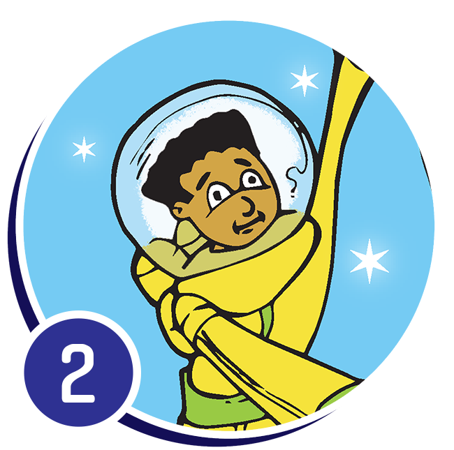 boy in spacesuit with arms outstretched