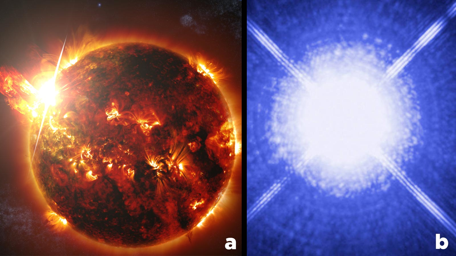 a. (left). red giant (artist rendering) and b. (right) white dwarf