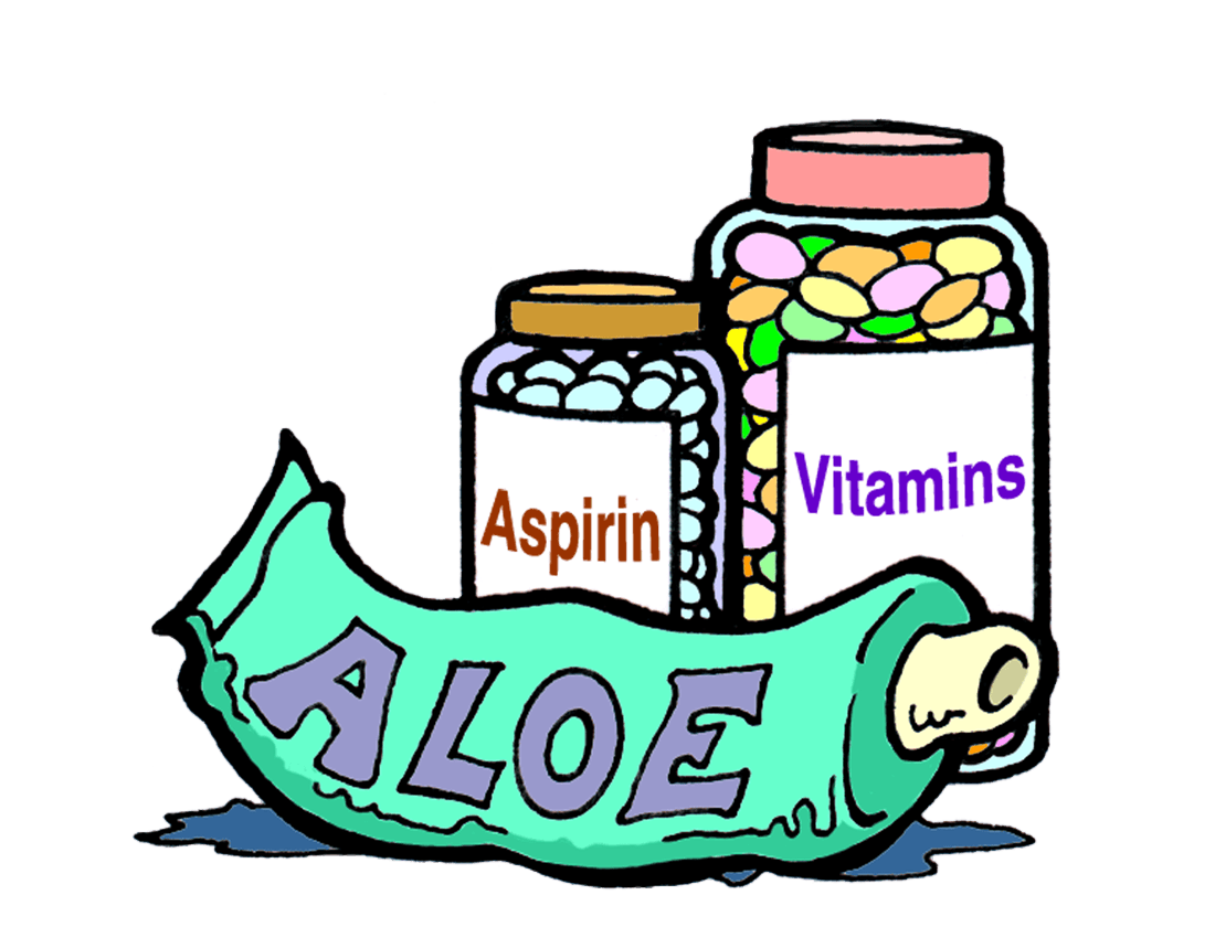 a tube of aloe, with bottles of aspirin and vitamins in the background.