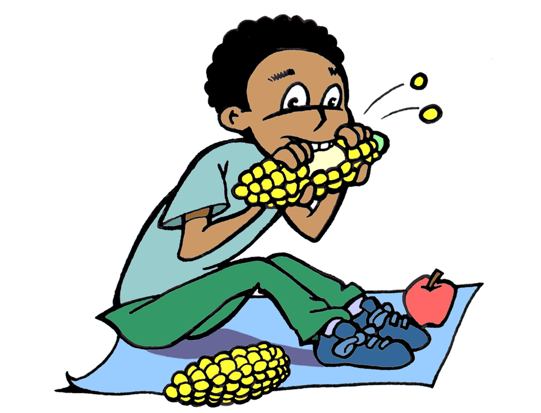 drawing of boy sitting on a blanket and eating corn on the cob.