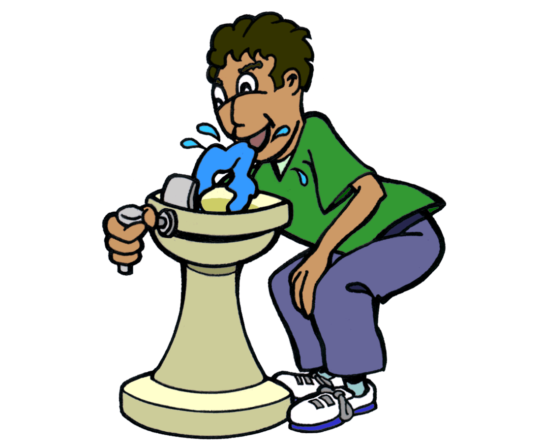 drawing of boy bending over to drink from a water fountain.
