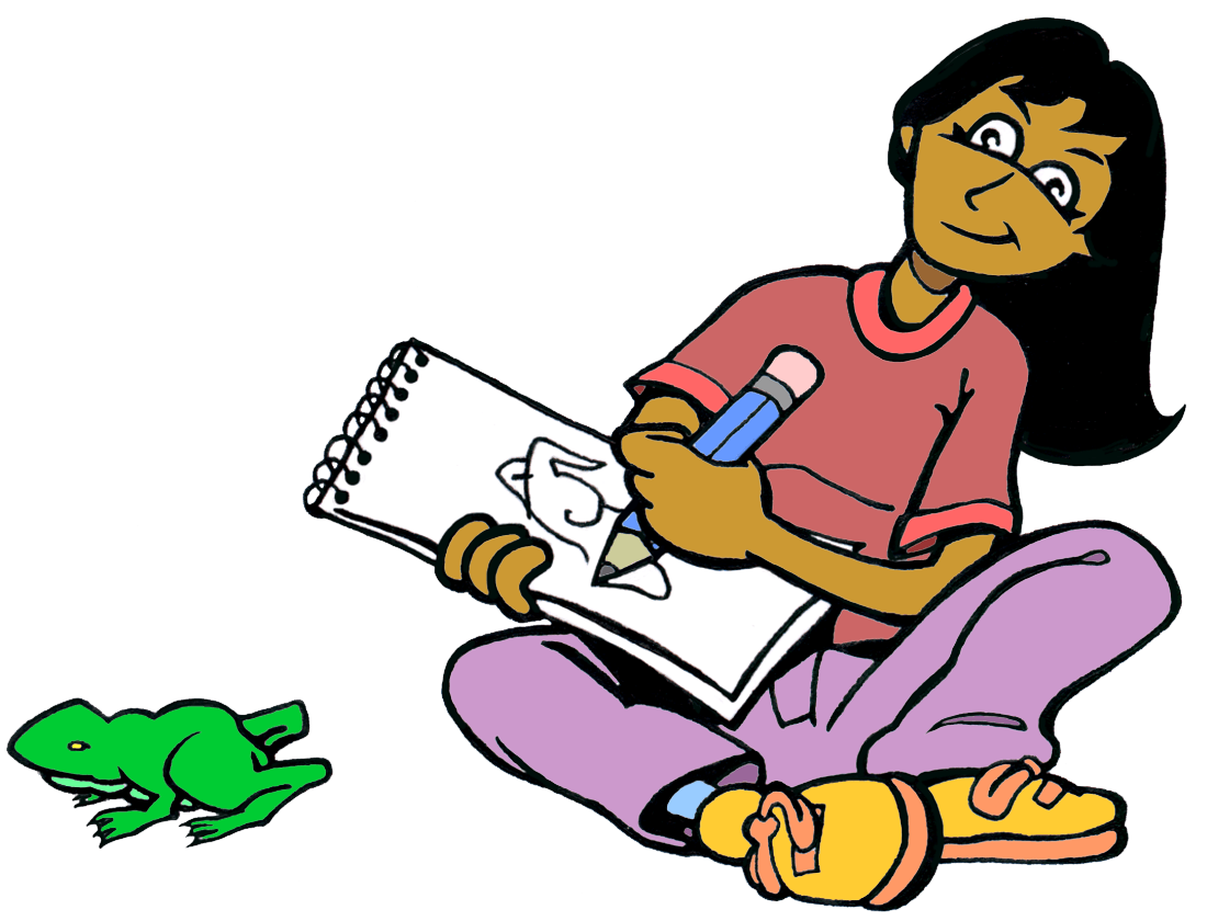 drawing of a girl observing a green frog on the floor and drawing it in her sketchpad.