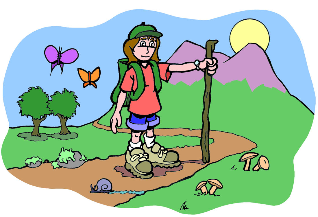 drawing of girl on a dirt path with trees and mountains in the background.