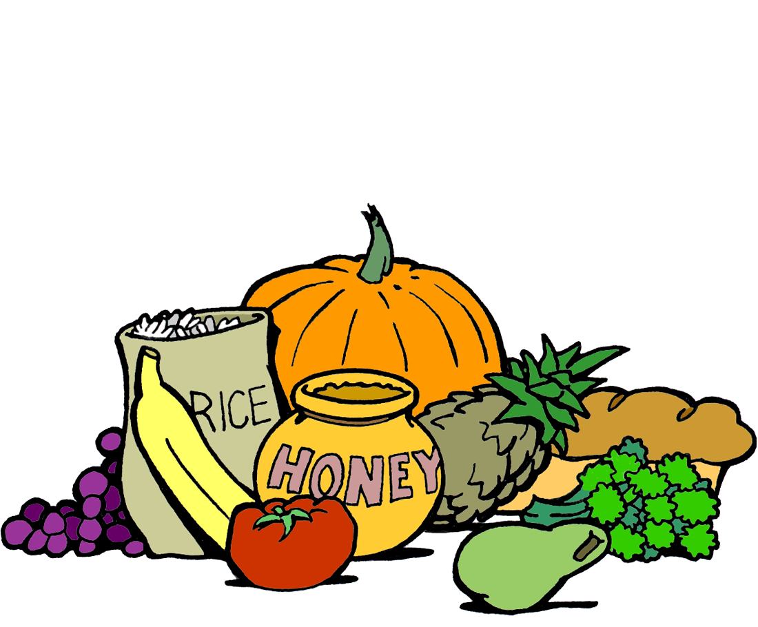 drawing of a honeypot, a bag of rice and a load of bread, along with various fruits and vegetables.