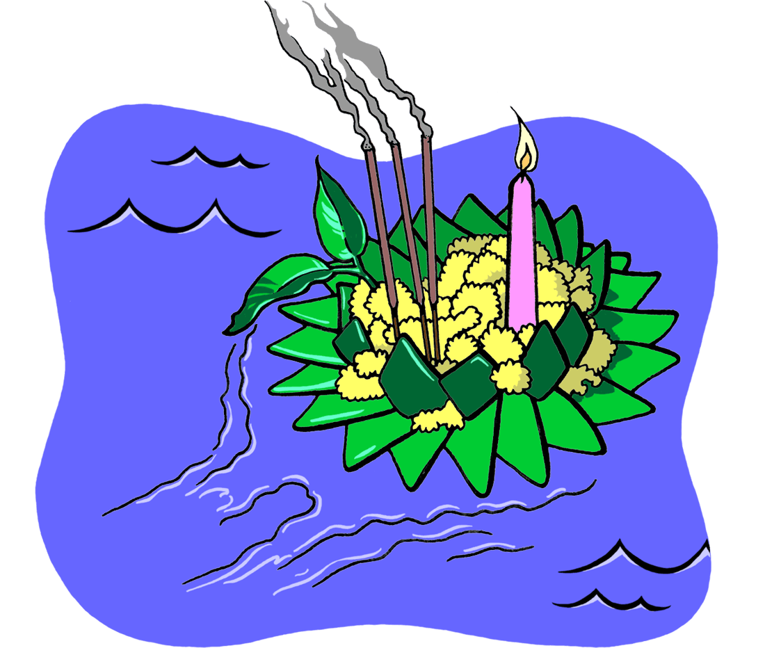 Drawing of a Krathong carrying flowers, a lit candle, and burning incense sticks while floating in water.