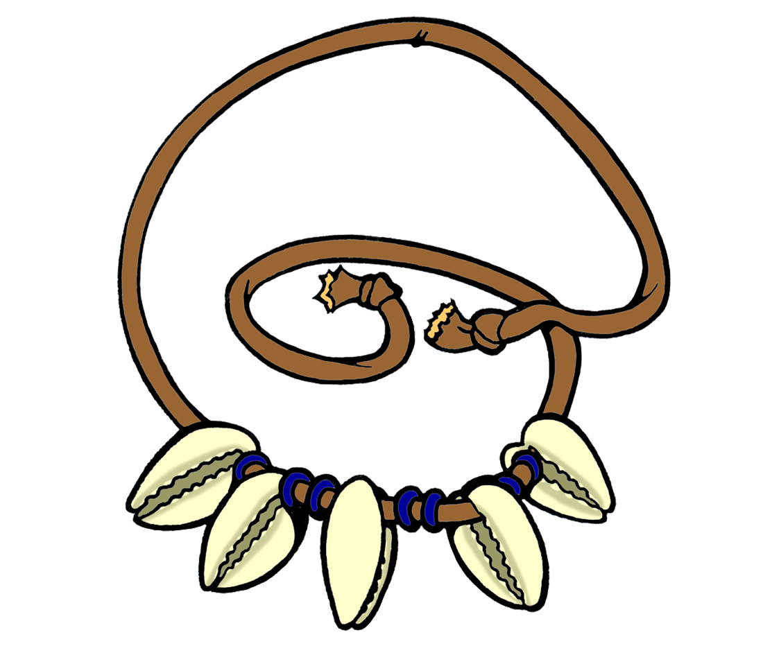 A drawing of a necklace with five cowry shells on it.
