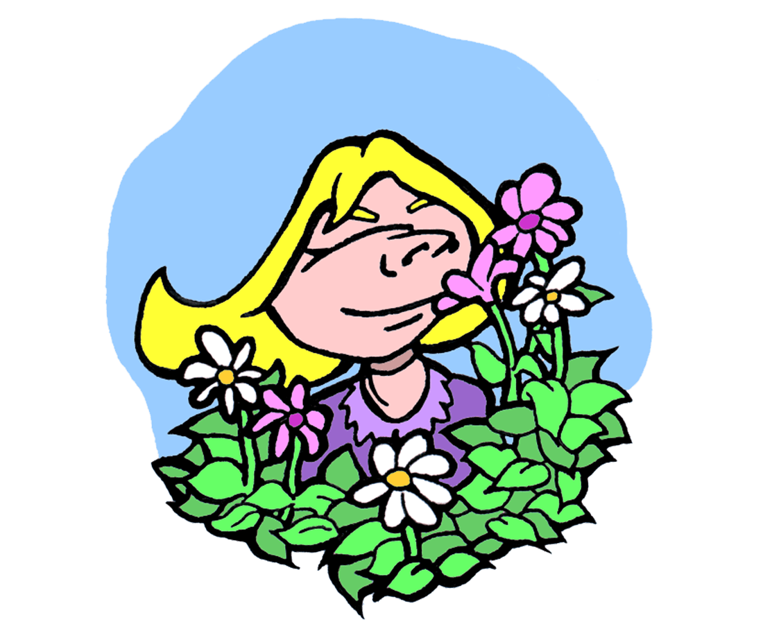 drawing of blond girl smelling pink and white flowers