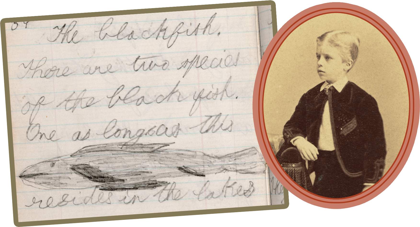 Portrait of young TR, alongside a page from his journal showing a drawing and notes about the blackfish.