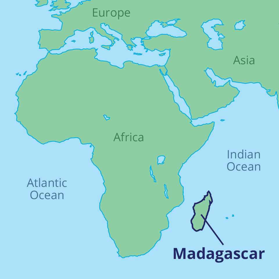 Map of Africa and Indian Ocean with the island of Madagascar labeled