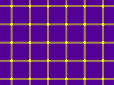 Purple field divided into a grid of yellow lines, with yellow dots at each intersection of grid lines.