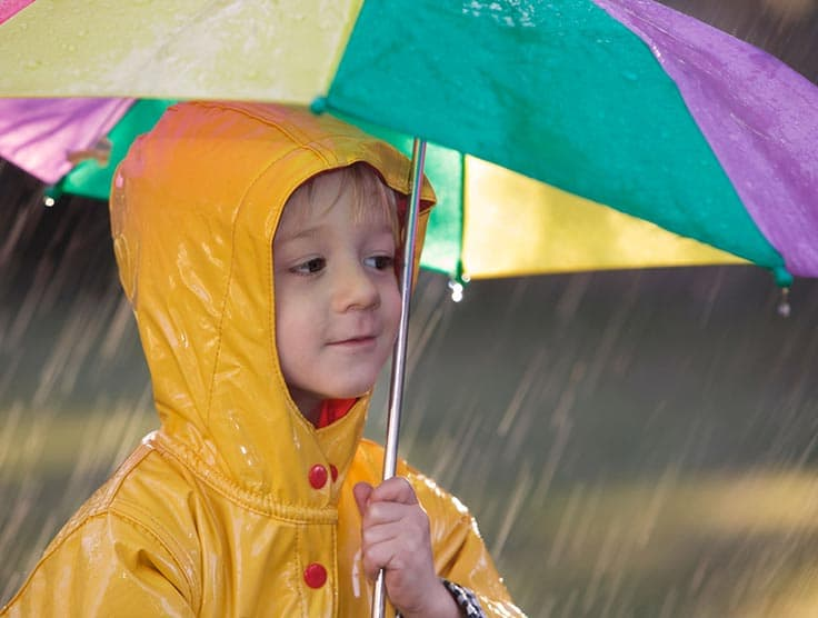 Young boy in raincoat shielding himself from rain with an umbrella.
