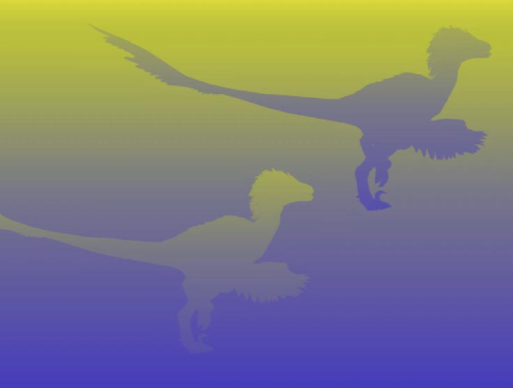 Two identical dinosaurs on a yellow-to-purple gradient background.