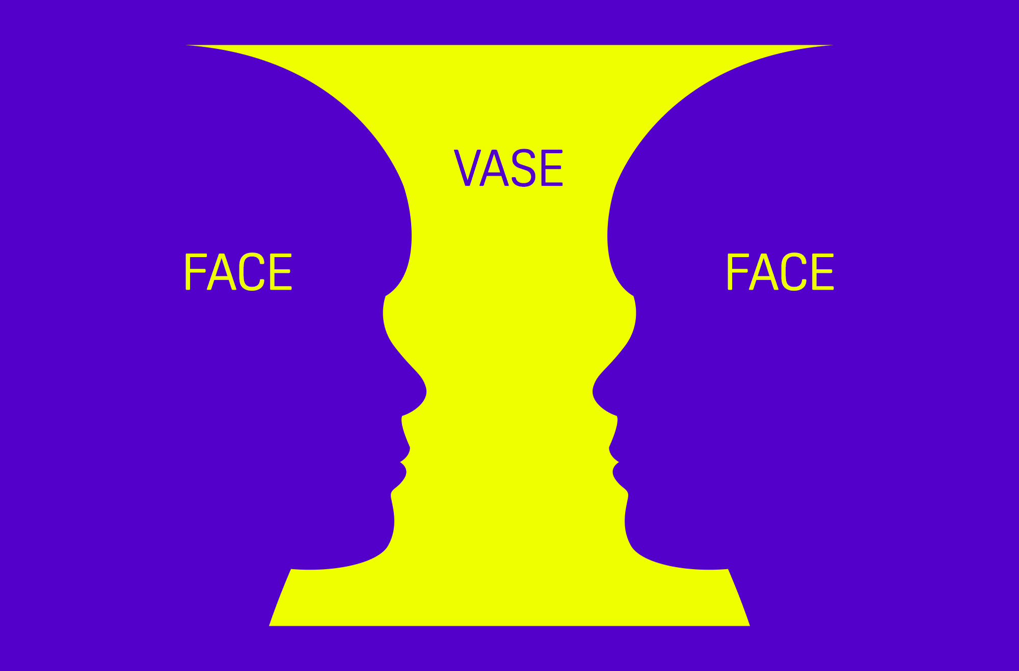 "vase labeled with words ""FACE"" near edges, and ""VASE"" in the middle."