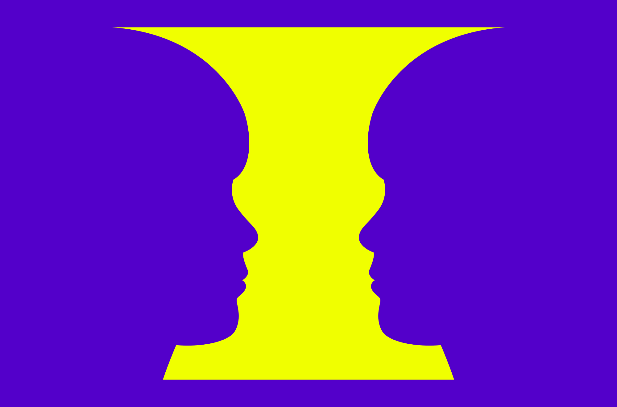 Yellow vase, with symmetrical curves on either side resembling the profile of a boy.