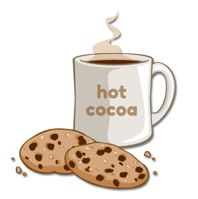 steaming hot cocoa and chocolate chip cookies