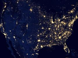 The US seen from space at night.