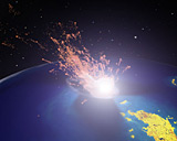 A digital image of a meteor hitting Earth