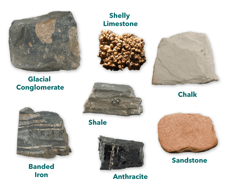 rocks including glacial conglomerate, sandstone, shale, chalk, Shelly limestone, anthracite, and banded iron