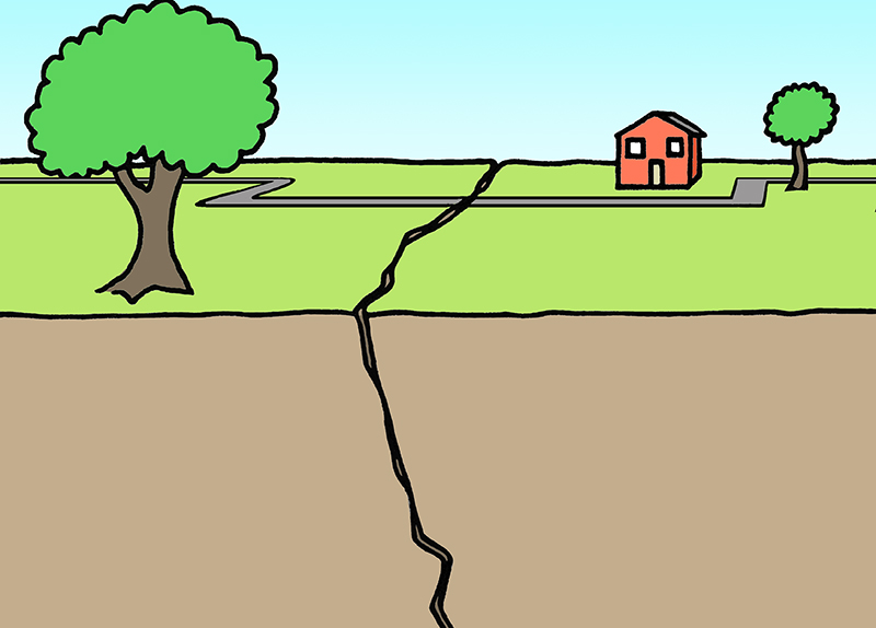 image of trees and a house on opposite sides of a fault line