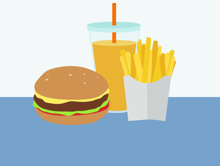 Hamburger, fries and orange juice.