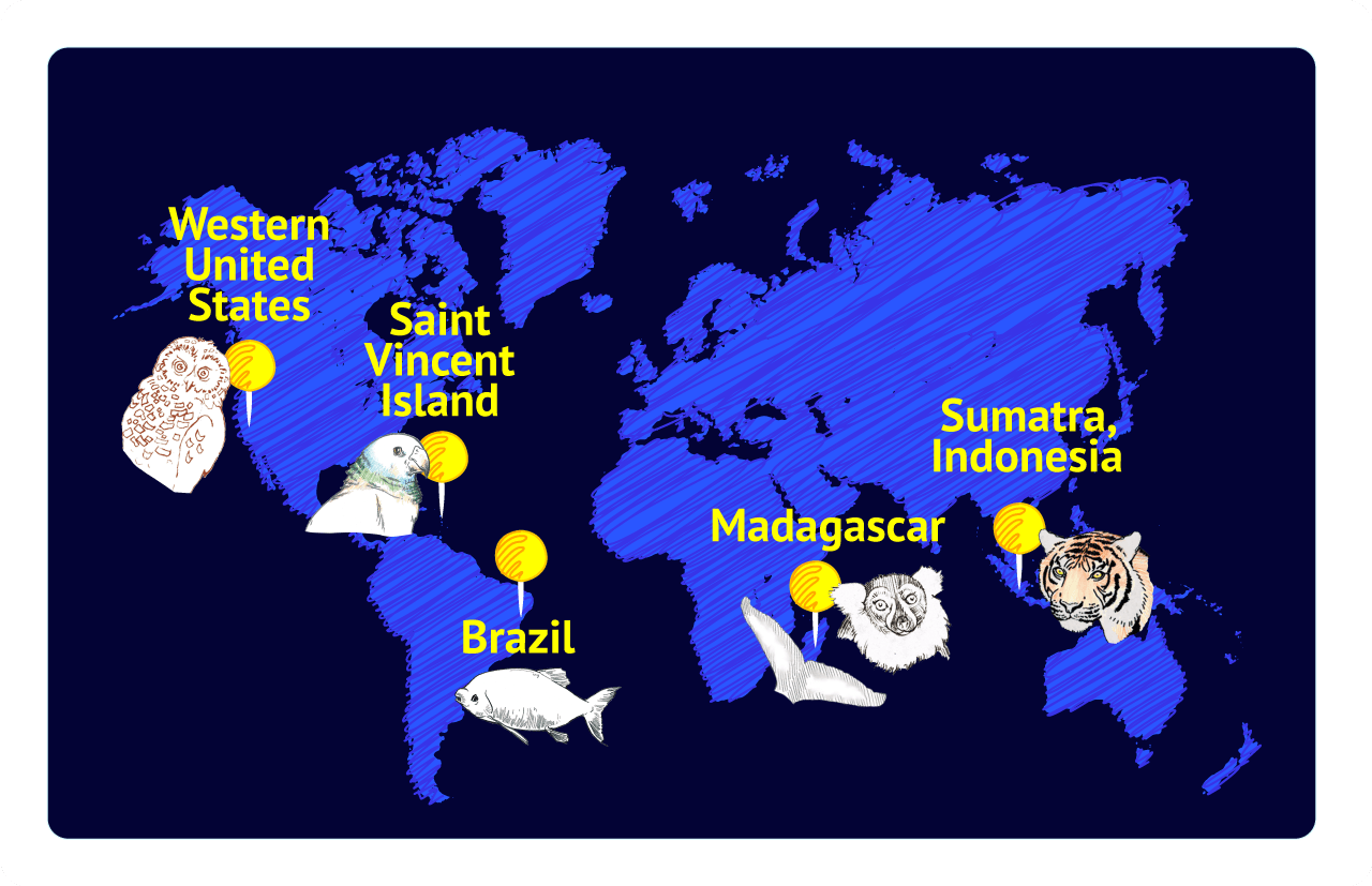 world map with habitat locations of species in article marked
