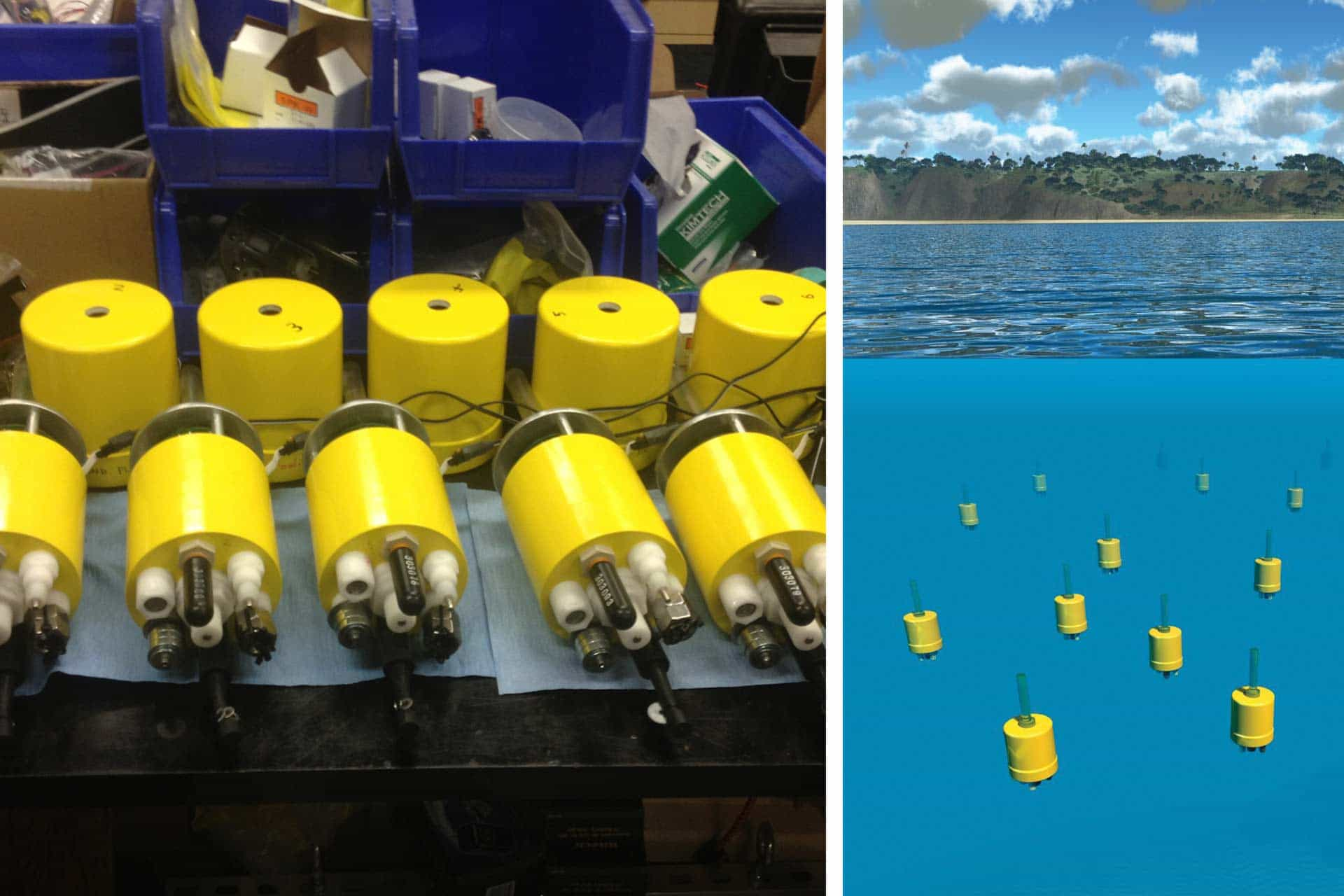 left, two rows of yellow cylindrical mini-autonomous underwater explorers; right, an artist's rendering of these devices floating on the ocean surface