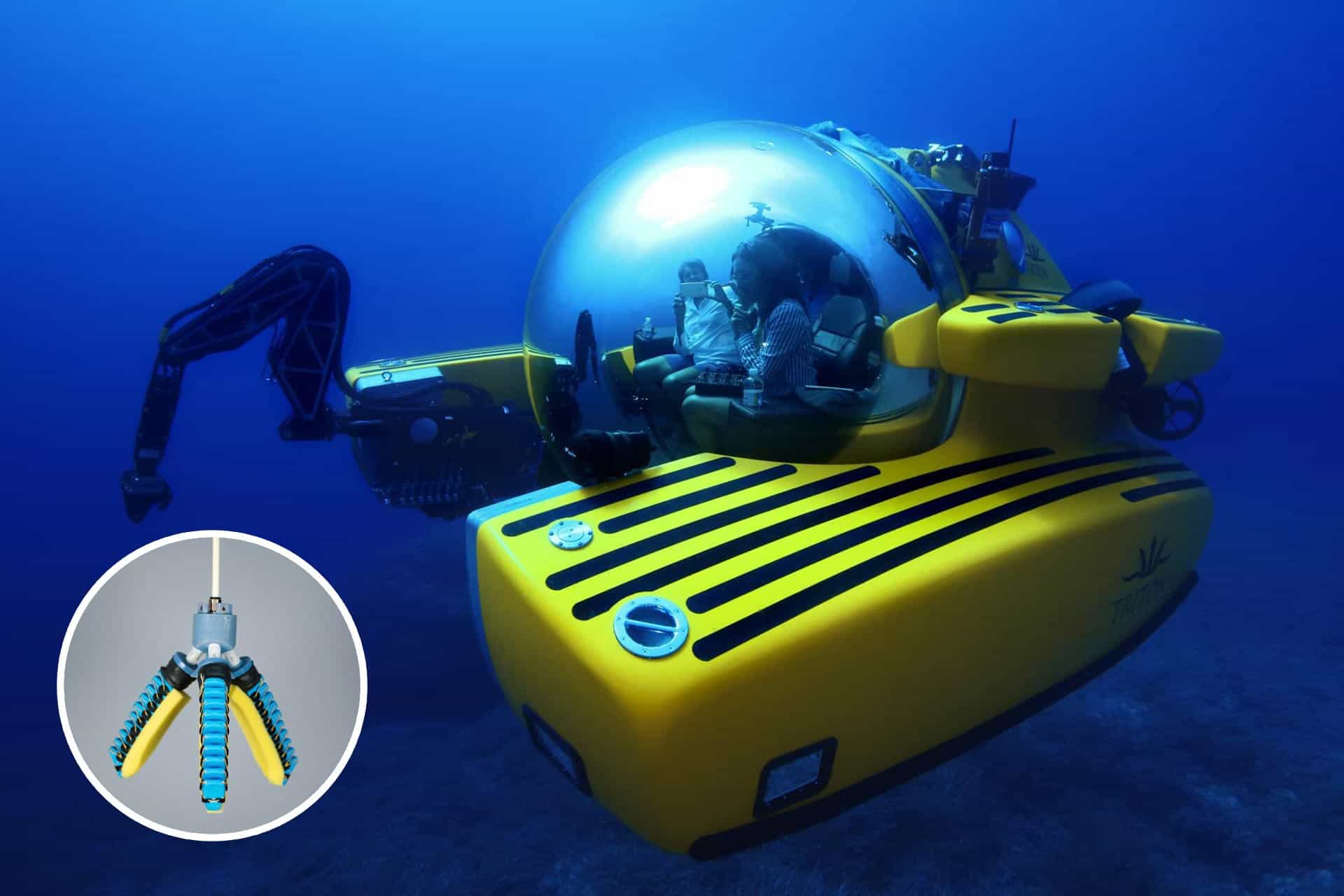 two marine biologists in a yellow submersible; inset, a foam-padded mechanical claw