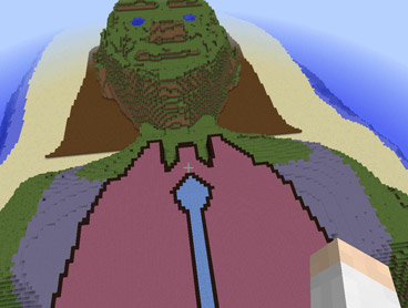 Aerial view of an island shaped like a human head in Minecraft.