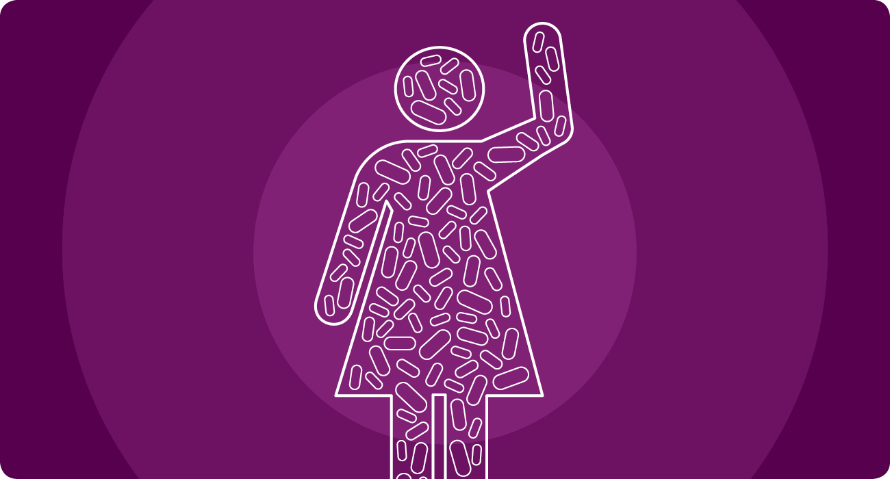 Icon of a person covered/filled with geometric shapes, waving.