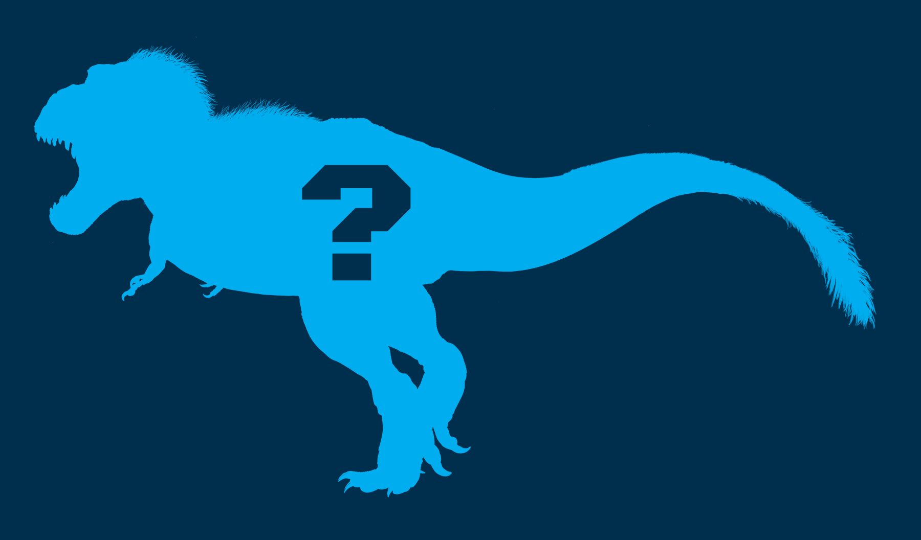 Silhouette of adult T. Rex with question mark