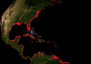 Areas along the U.S. East coast and Central America that would be submerged if global sea levels rose 7 meters (23 feet). Data: Jonathan Overpeck