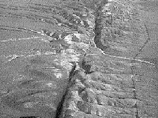 Aerial image of the San Andreas transform fault in the Southern California desert. Photo courtesy of the United States Geologic Survey.