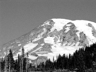 A view of the glacier-clad summit of Mt. Rainier. hoto by Jackie Beckett, © American Museum of Natural History.