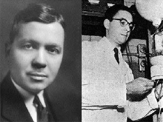 "Left: Harold Urey (1893-1981), investigator of the origin of life on Earth. Photo by Kemi, courtesy of the Nobel Foundation. Right: Urey's student and colleague Stanley Miller in their lab at the University of Chicago in 1953. In their experiments, they attempted to study the origins of life by duplicating the conditions which would have existed on the primordial Earth. Their apparatus contained a ""sea"" of purified, sterile water under an ""atmosphere"" of hydrogen, methane, and ammonia. Incandescent electrodes imitated lighting and ultraviolet radiation from the Sun. After a week or so the result was a tar-like residue containing amino acids, the basic building blocks of life. Photo courtesy of SPL/Photo Researchers Inc."