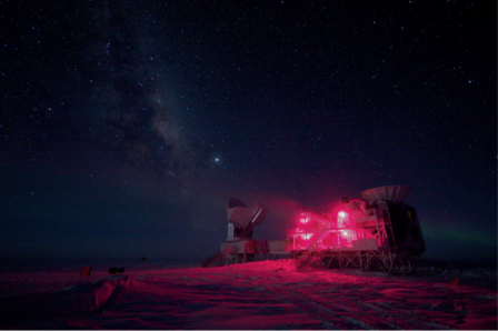 "Researchers studying cosmic ""inflation"" used instruments housed on this building, located near the geographic South Pole in Antarctica, among the best places on Earth for observing space because it is so clear and so dry.   National Science Foundation"