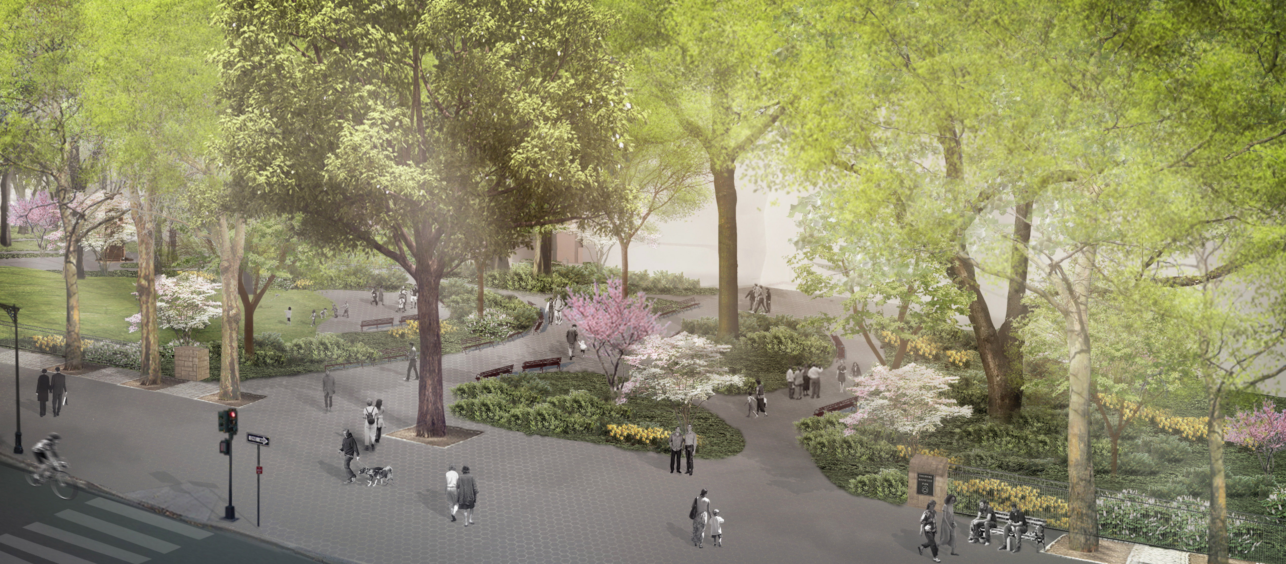 Rendering from tree-top level looks down a visitors strolling, sitting on benches, and enjoying the paved park area among flowering trees.