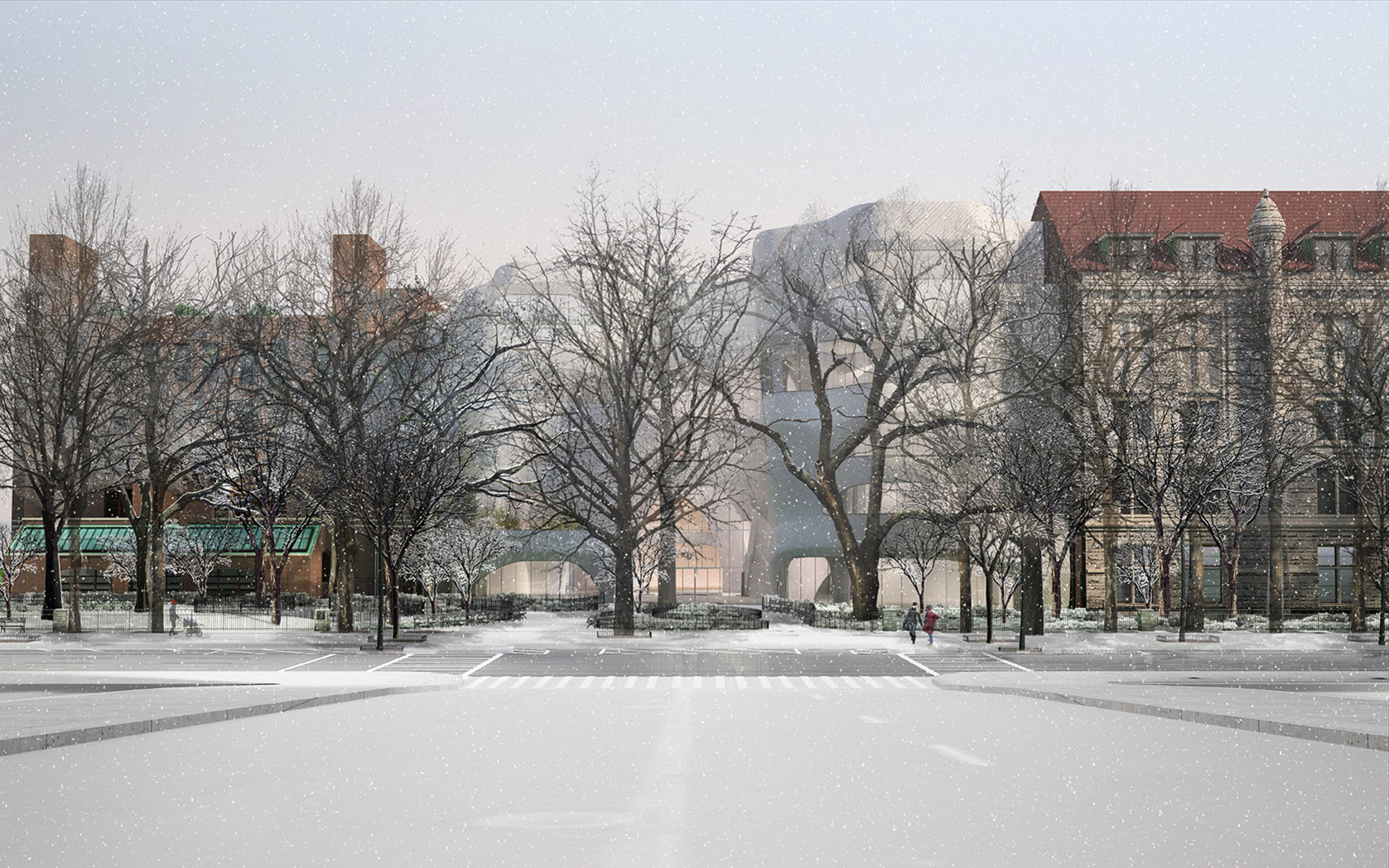 Rendering of the front facade of the Gilder addition (flanked by older museum buildings on either side) during winter, with leafless trees and snow.