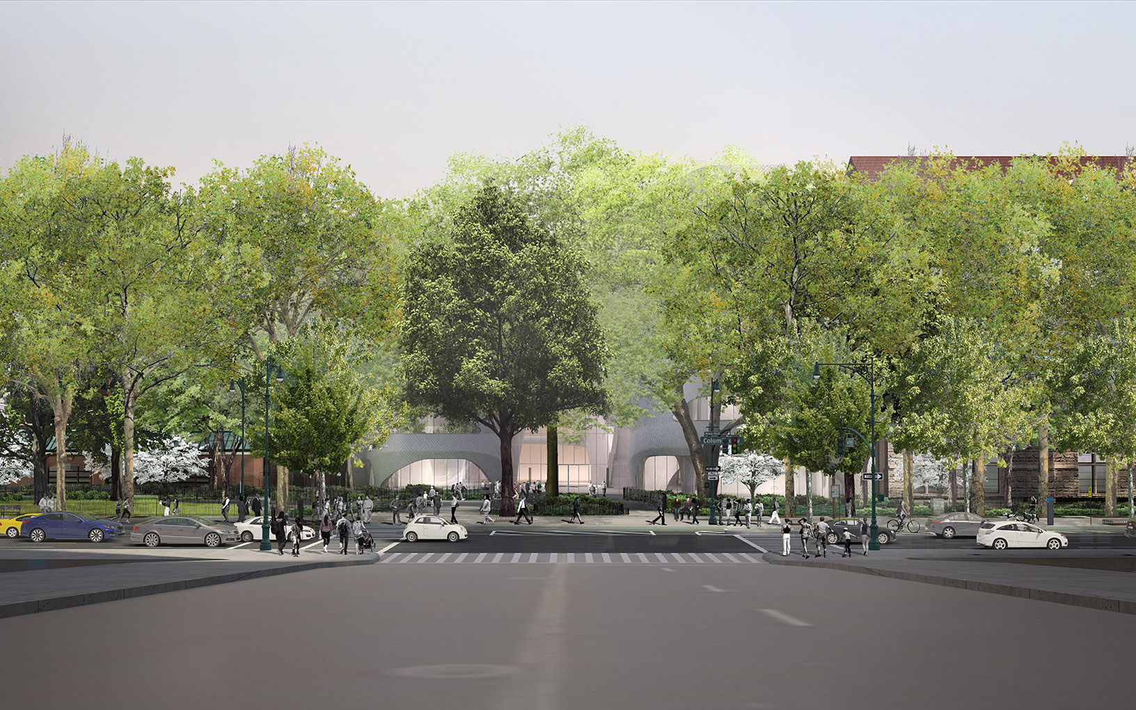 Rendering of the front facade of the Gilder addition (flanked by older museum buildings on either side) during summer, leafy trees in the foreground.