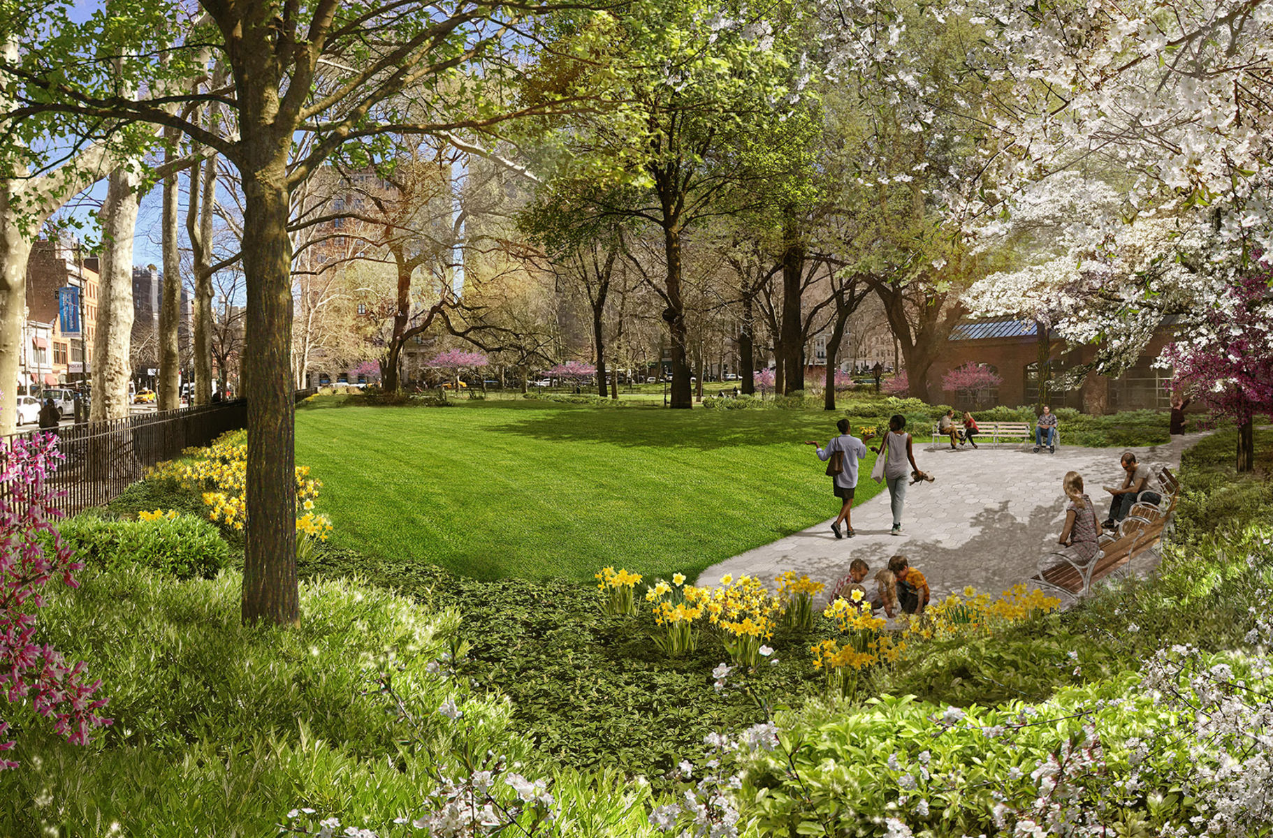 Rendering of Margaret Mead Green, a grassy expanse next to a paved terrace with people sitting on benches, surrounded by blossoming trees and plants.