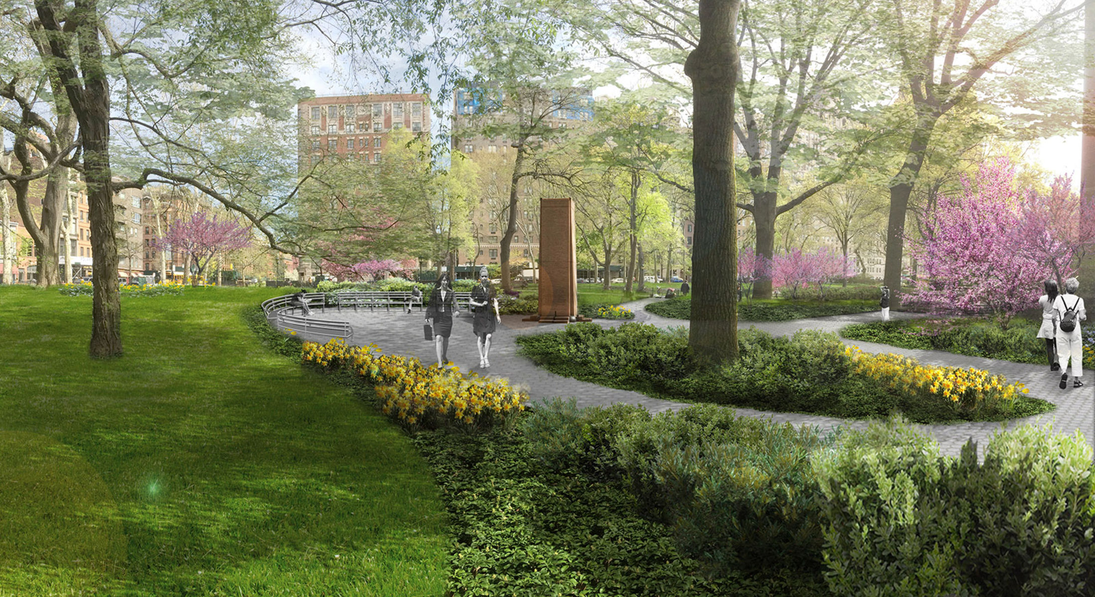 Architectural rendering of the park area surrounding the Museum with a walkway, flowering trees and plants and a monument in the backgroundM