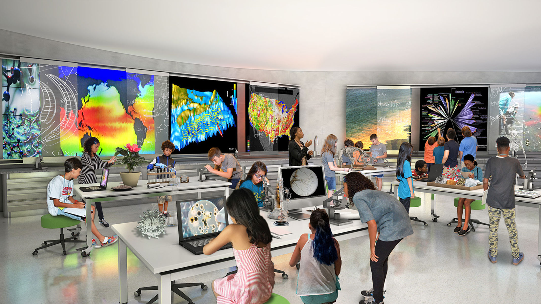 Rendering shows an open space with students and teachers surrounded by desktop and wall-mounted digital screens displaying bright visuals.