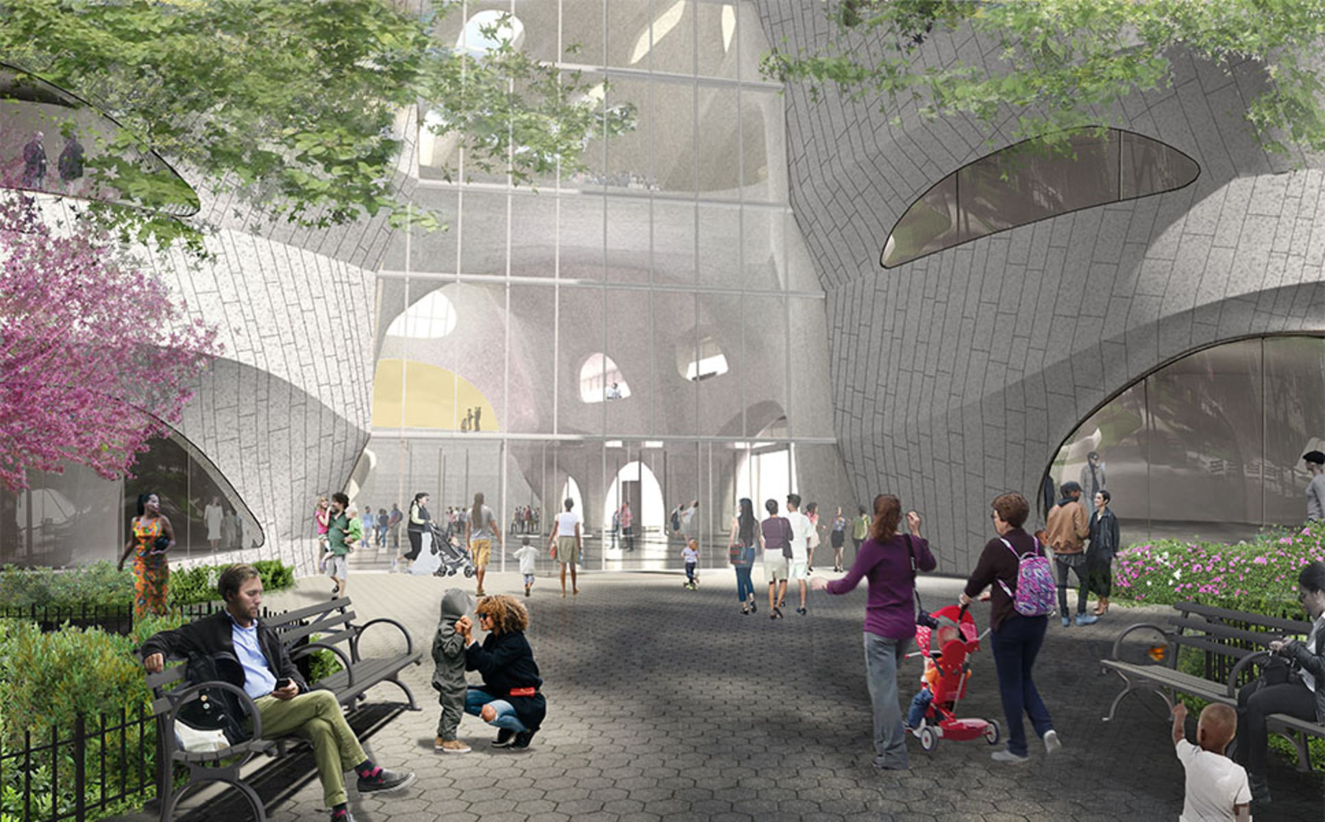 Renderings of people sitting on benches and approaching the entrance of the new Gilder Center.