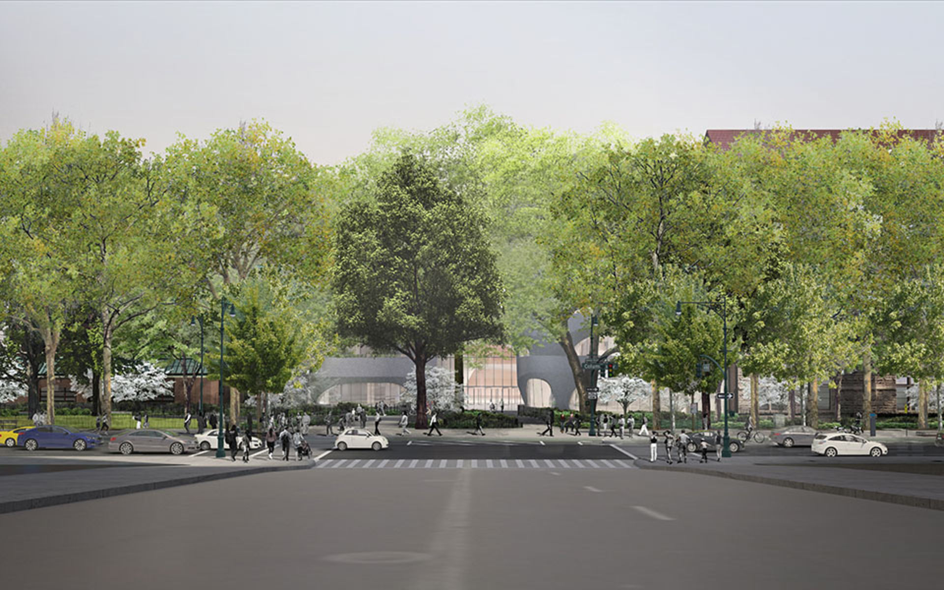 Rendering of leafy trees flanking the new Gilder Center.