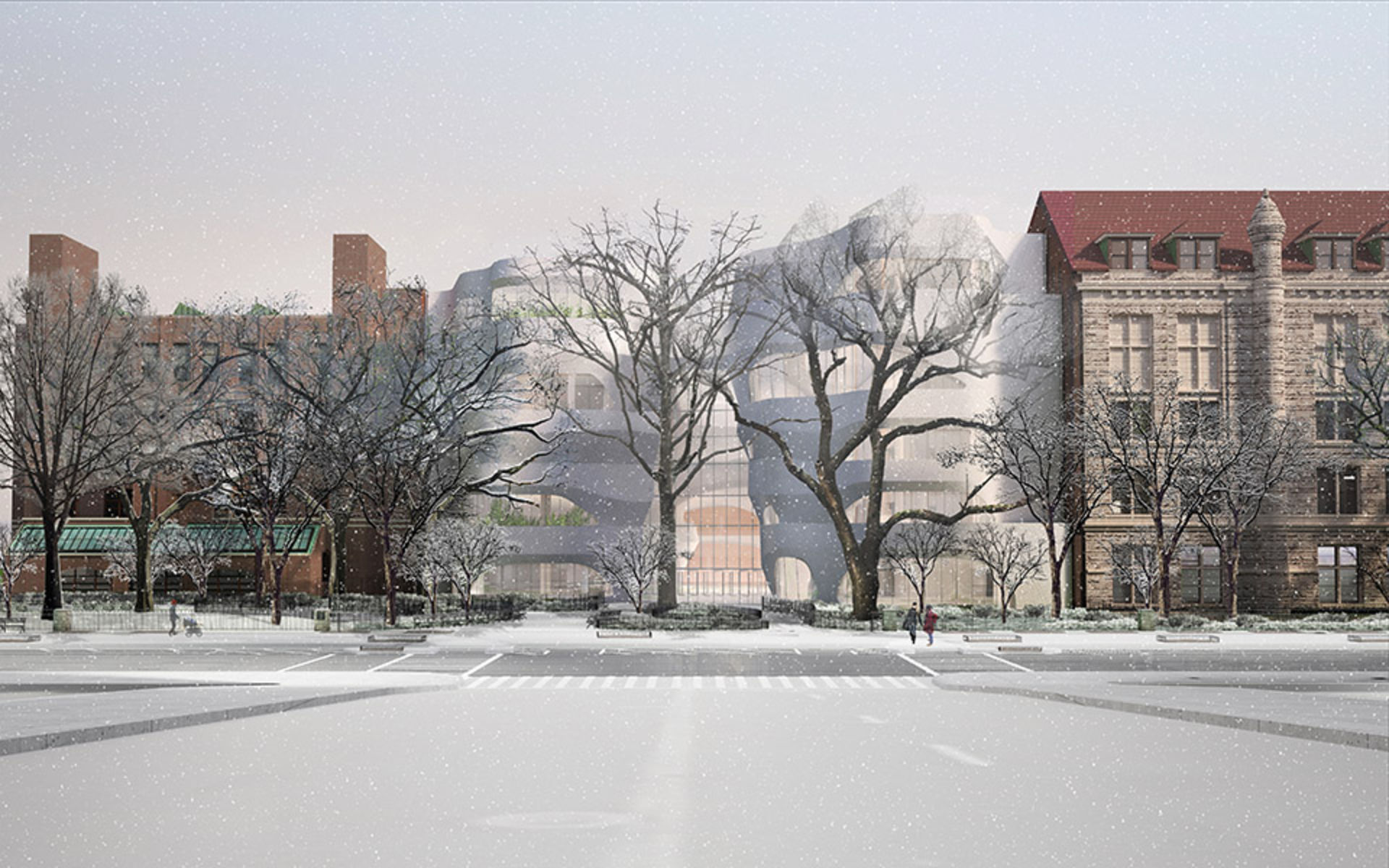 Rendering of leafless winter trees and older buildings flanking the new Gilder Center.