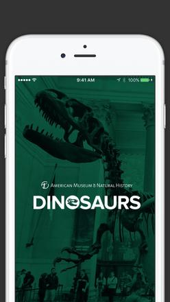 Graphic showing splash screen image inside mobile device launching dinosaurs app