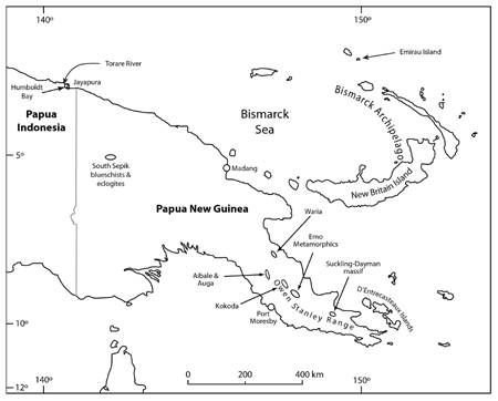 This map of the area around eastern New Guinea shows the location of Emirau Island, where the jade artifact was found, and Torare River, the possible source of the rock.