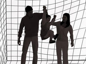 Man and woman swing a child by the hands in front of a wavy graphic background.
